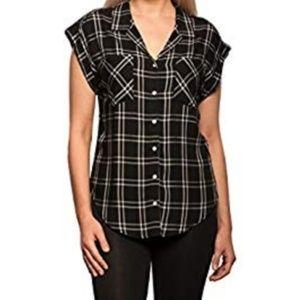 Jacks Girlfriend Cap Sleeve Button Down Shirt